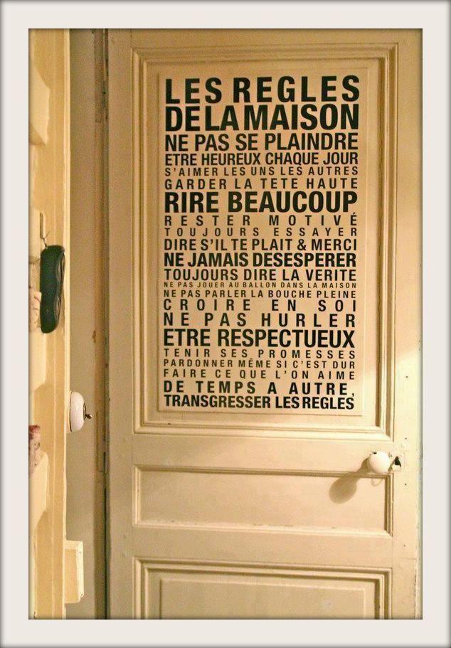 Tableaux déco / Trendy/ papier peint personnalisé/ Les Règles de La Maison - Shopping-Addict à la rescousse !