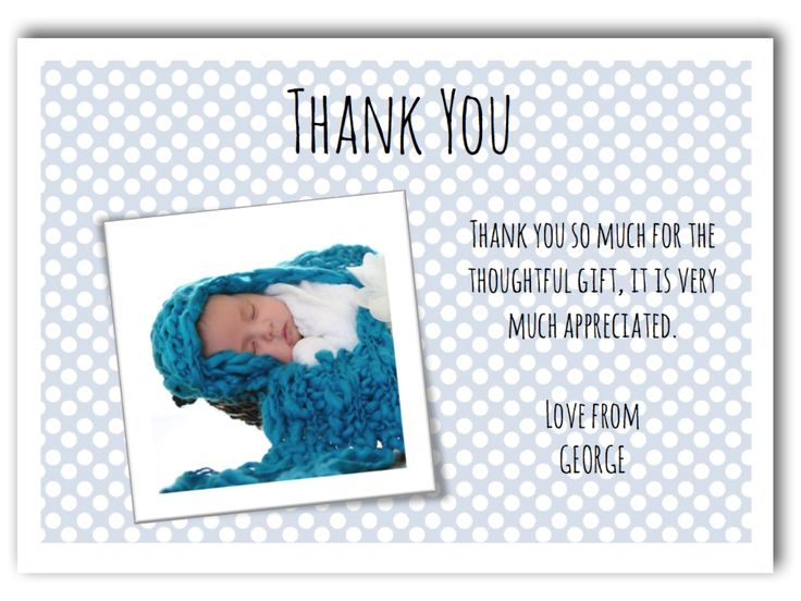 Personalised Photo Baby Boy Thank You Cards ~ £4.25 per pack of 10.