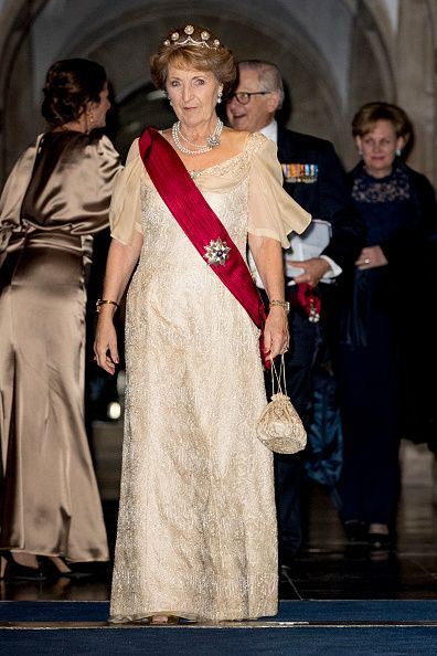 Princess Margriet of The Netherlands leaves the royal palace after the state banquet for the Belgian King and Queen on November 28, 2016 in Amsterdam, Netherlands.