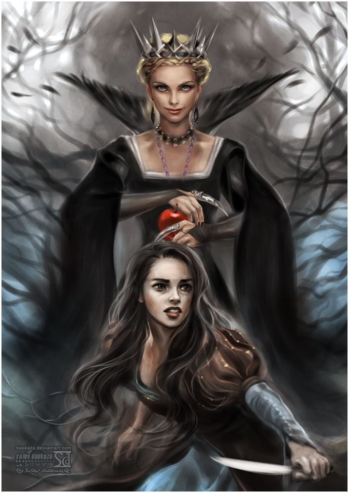 Snow White and Huntsman by `daekazu on deviantART ~ Disney ~ Evil Queen Ravenna {Charlize Theron} & Snow White {Kristen Stewart}