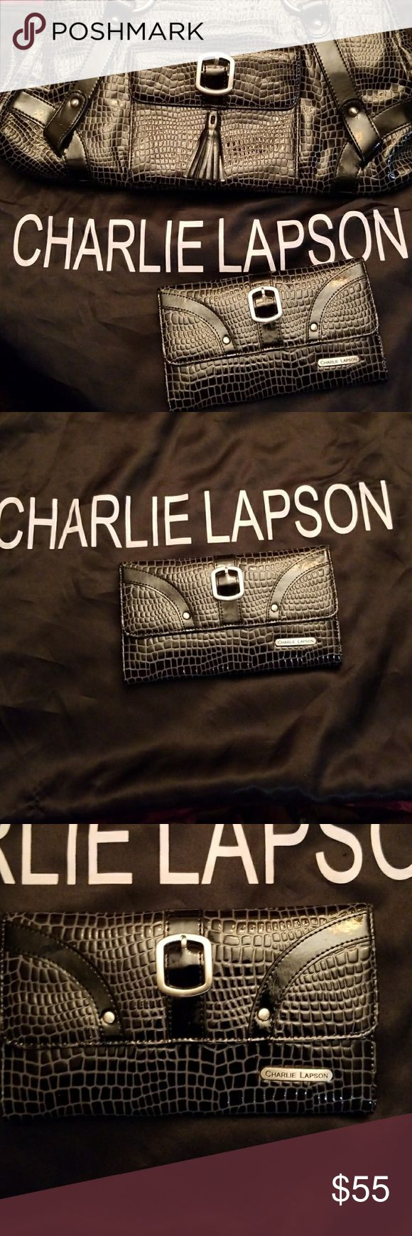 Charlie Lapson Wallet Black & gray Reptile embossed leather wallet features 12 slot card holder and checkbook with outside zipper. Gently worn twice. Like new!  Charlie Lapson is known for creating uniquely designed handbags for the stars! An exclusively made wallet for formerly known Shop Nbc. Charlie Lapson Bags Wallets