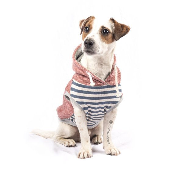 Stiped Nautical Hoodie Dog Sweater ~ Limited Edition ~ Easy pullover style with stretchy material ~ Perfect for a Spring Day walk on the waterfront   Happy Pooch