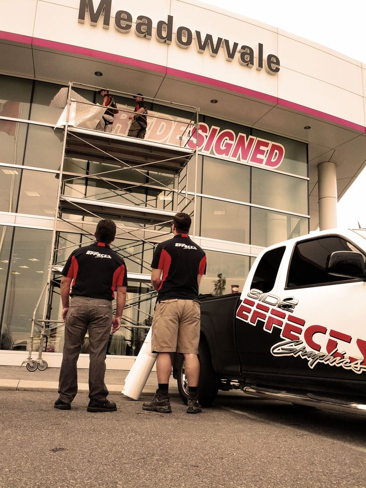 Our guys are working away on some new window graphics being applied to the showroom windows at Meadowvale Toyota in Mississauga.