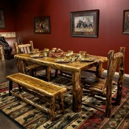 Aspen and Barnwood Dining Table in a Honey Finish | reclaimed wood and rustic aspen logs