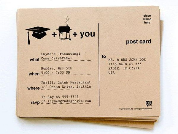 Graduation & BBQ Invitation - 10  Creative Graduation Invitation Ideas, http://hative.com/creative-graduation-invitation-ideas/,
