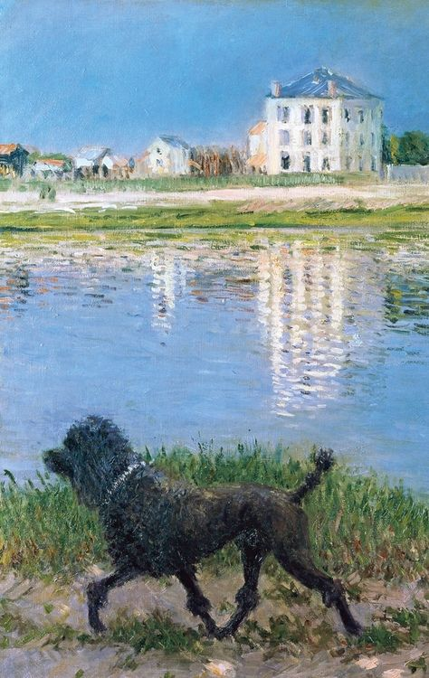 """tierradentro: Detail from Gustave Caillebotte's """"Richard Gallo and his Dog at Petit Gennevilliers"""", c.1884."""