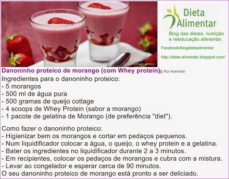Receita do danoninho proteico com morangos.