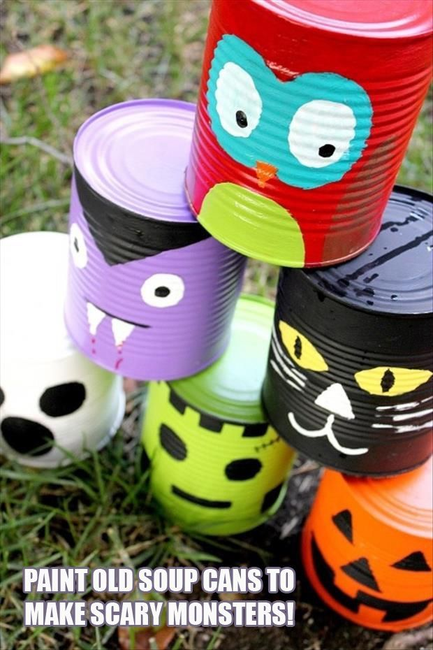 DIY Halloween Can Monsters craft halloween crafts