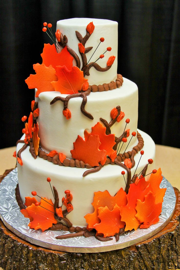 3 Tier Round Fall Wedding Cake with Brown Icing Branches and Orange Leaves