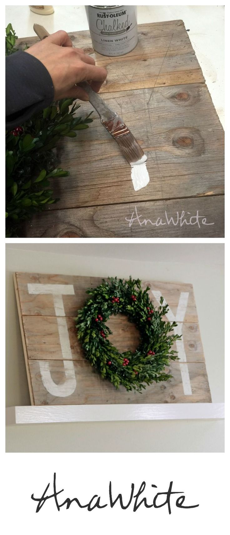 Ana White | Build a Joy Holiday Sign Christmas Wall Art | Free and Easy DIY…