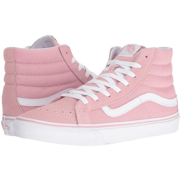 Vans SK8-Hi Slim (Zephyr/True White) Skate Shoes (87 CAD) ❤ liked on Polyvore featuring shoes, sneakers, white high tops, skate shoes, white hi top sneakers, white leather sneakers and high top skate shoes
