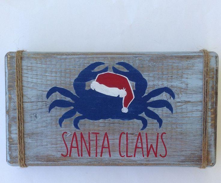 Santa claws.christmas decor.christmas crab.beach decor.crab decor.