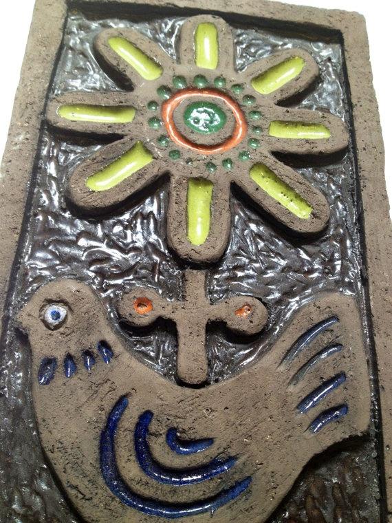60s Swedish vintage retro ceramic plaque. Hand made, in great condition.