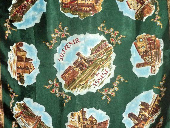 Assisi Souvenir Scarf Stunning Emerald Green by MushkaVintage3