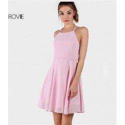 Lace Up Backless Spaghetti Strap Short Skater Dress
