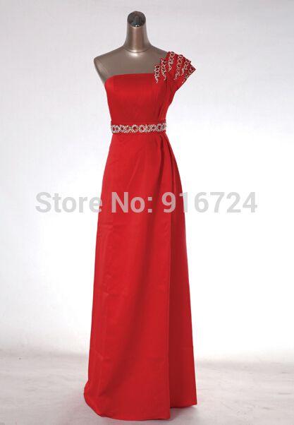Одно плечо атласная красный бисероплетение пояс-линии формальное вечернее платье для невесты