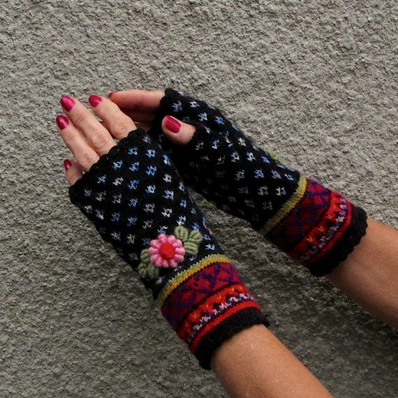 Handmade Embroided Fair Isle Fingerless Mitts in Boho Style by Dom Klary