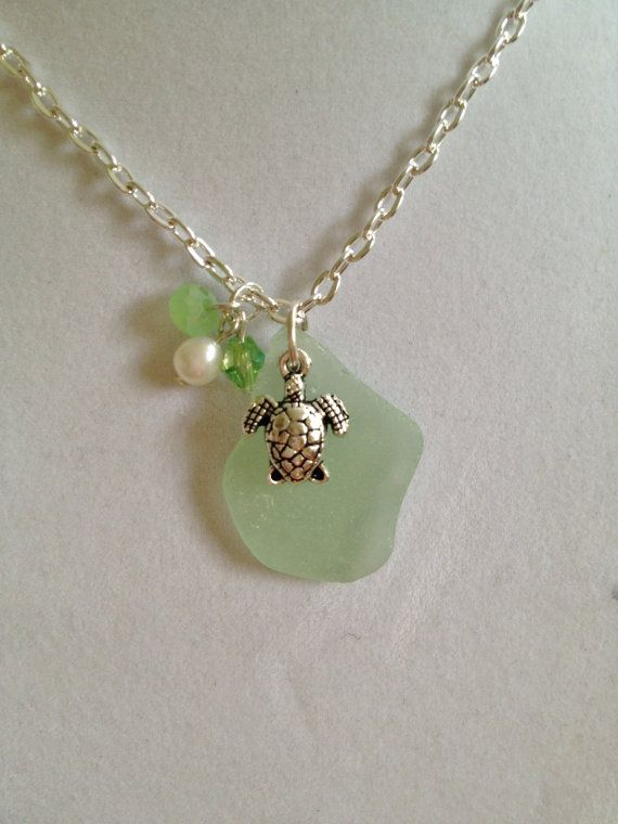Sea Glass Necklace by joytoyou41 on Etsy, $18.00