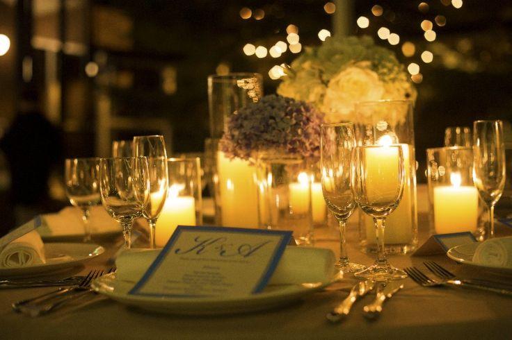 ナイトウェディング テーブルコーディネート キャンドル Night Wedding Pinterest