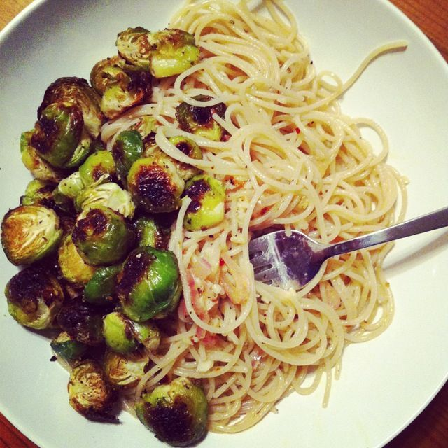 GF garlic, shallot pasta with brussel sprouts via Crystalin Marie
