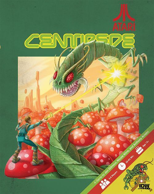 In Atari's Centipede, 2 or 4 players venture into the world of the classic Atari arcade game. On one side, a Player controls the Gnome, exploring the forest and trying to defeat the Centipede.  On the other side, the Centipede player, eager to destroy the Gnome, must wiggle their way to the other end of the board.  The Gnome Player rolls and spends their dice to perform actions, while the Centipede Player uses a deck of cards to spawn Fleas, Spiders and Mushrooms, trying to control ...