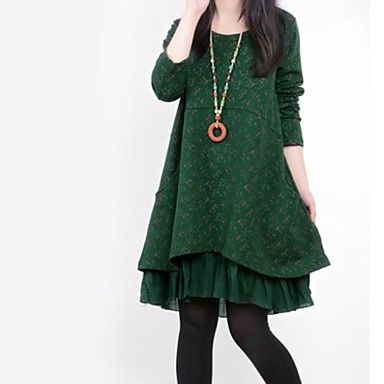 Women's Round Collar Flora Print Stitching Loose Long Sleeve A-line Dress – USD $ 24.99