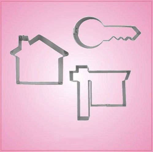 Our Real Estate Cookie Cutter Sets include 3 themed cookie cutters: Cool House, Modern Key, and Realty Sign.  Each are made of sturdy aluminum. Cleaning instruc