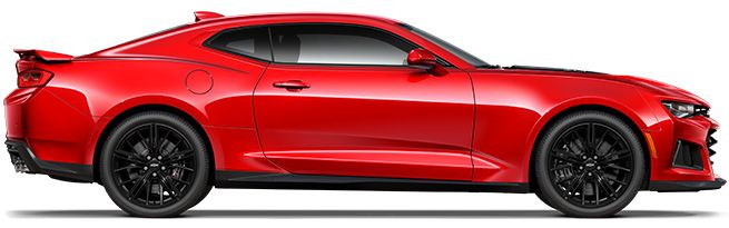 2017 Chevrolet Camaro ZL1, coupe in red - side view