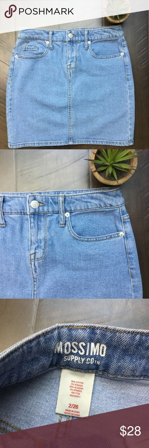 """Mossimo Supply Co Denim Jean Mini Skirt Mossimo Supply Co Denim Jean Mini Skirt.  26. Approximately 29"""" waist,  35"""" hip, 16"""" in length. EUC, no flaws to note. Light wash. Mossimo Supply Co. Skirts Mini"""