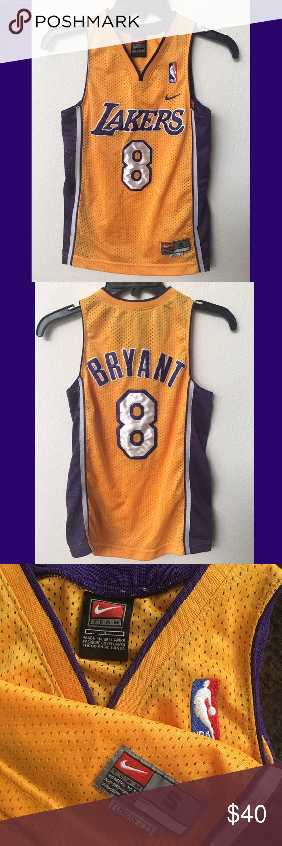 LA Lakers Kobe Bryant # 8 NBA Nike jersey Lakers kobe bryant nba nike jersey nwot never used embroidered boys size S length + 2 NBA Nike Team  Shirts & Tops Tank Tops