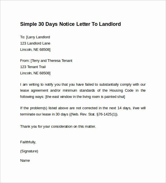 30 Days Notice To Landlord Template Unique 10 Sample 30 Days Notice Letters To Landlor In 2021 Simple Cover Letter Template Cover Letter Template Free Letter Templates