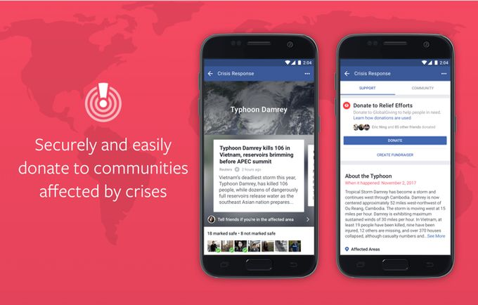 Facebook makes it easier to donate in times of crisis