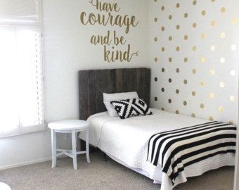 Gold Dot Decals Polka Dot Wall Decal Gold Vinyl Dots Gold Nursery Decor White And Gold Decor Girls Bedroom Decor