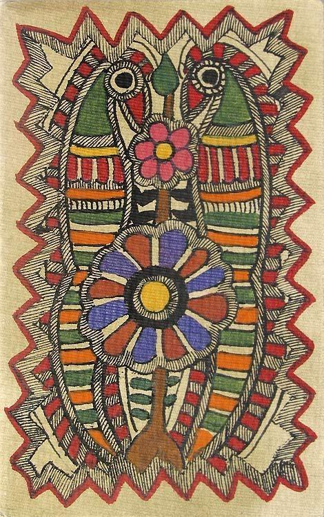 Madhubani Indian Folk Art - Parrots