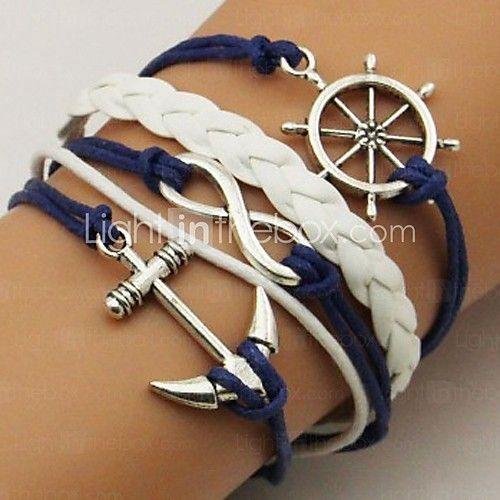 Armband Armband av Remmar Läder Armband Legering Läder Oändlighet Ankare Party Dagligen Casual Julklappar Smycken Present Blå,1st 2017 - $1.99