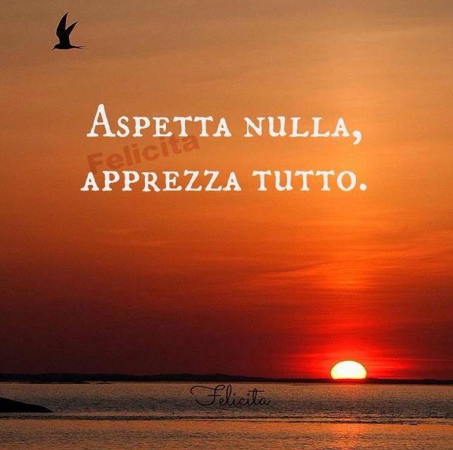 Aspetta nulla, apprezza tutto! ~ Expect nothing, appreciate everything!