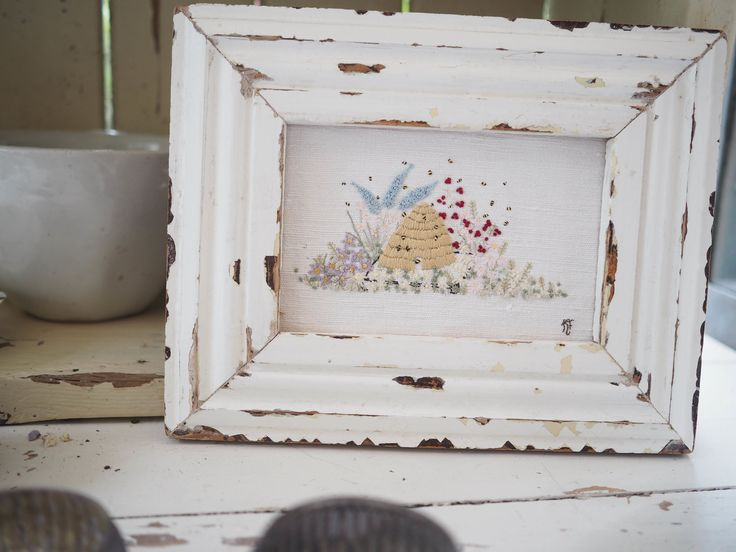Hand embroidered beehive picture in chippy frame