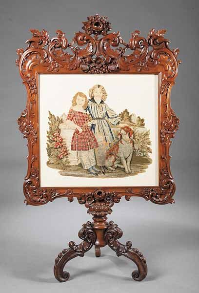 Carved Walnut & Needlepoint Screen, mid 19th c.
