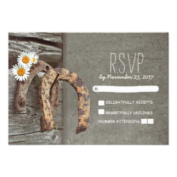 Charming rustic country wedding reply cards with old wood, wildflowers - marguerites (white daisies) and two horseshoes hanging on the metal nail. #country #rsvp #western #rsvp #rustic #rsvp #barn #rsvp #rural #rsvp #horseshoe #rsvp #country #wedding #response #rustic #country #wedding #reply #wood #daisies #horseshoes #rural #farm #ranch