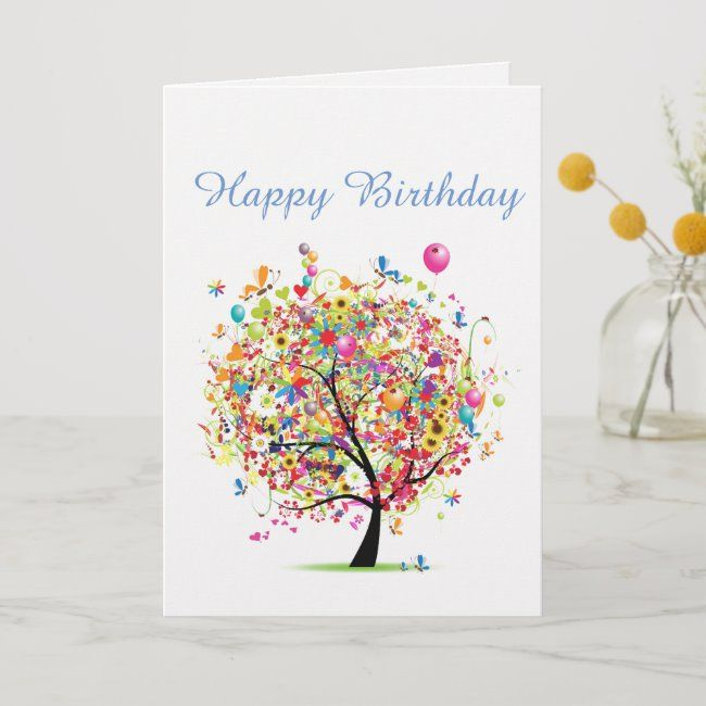 happy birthday colourful card  zazzle with images