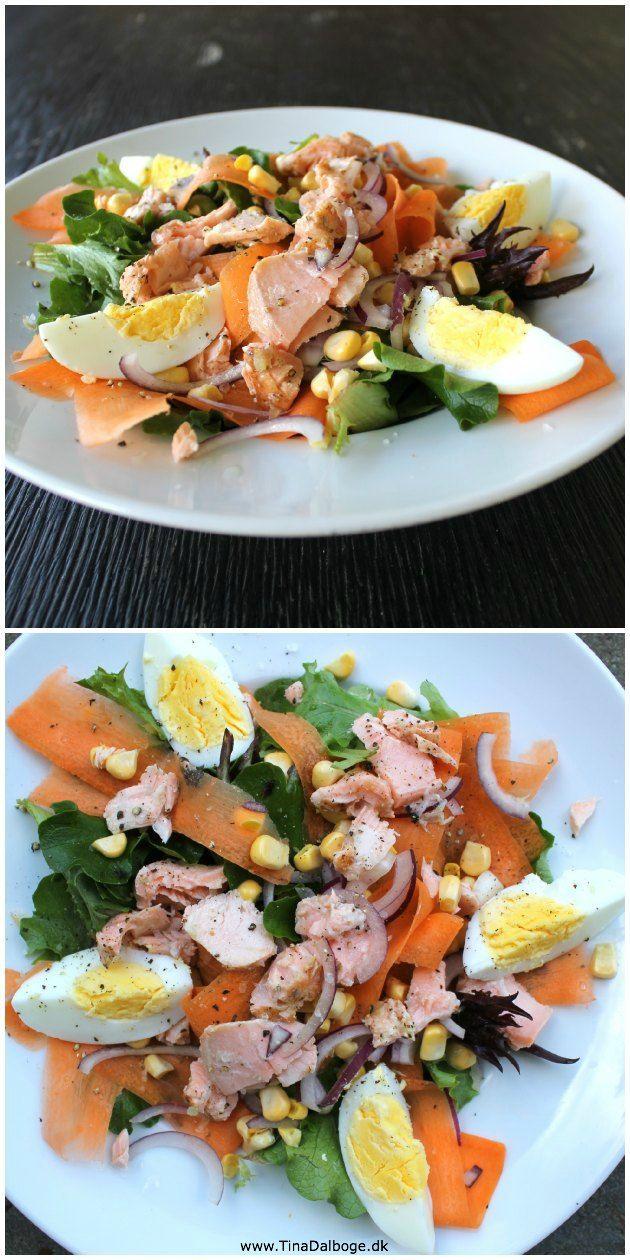 sund salat til frokost #salat med laks og rejer