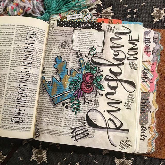 Bible Journaling by Kaylee King @wethreekingsillustrated | Matthew 6:9-13