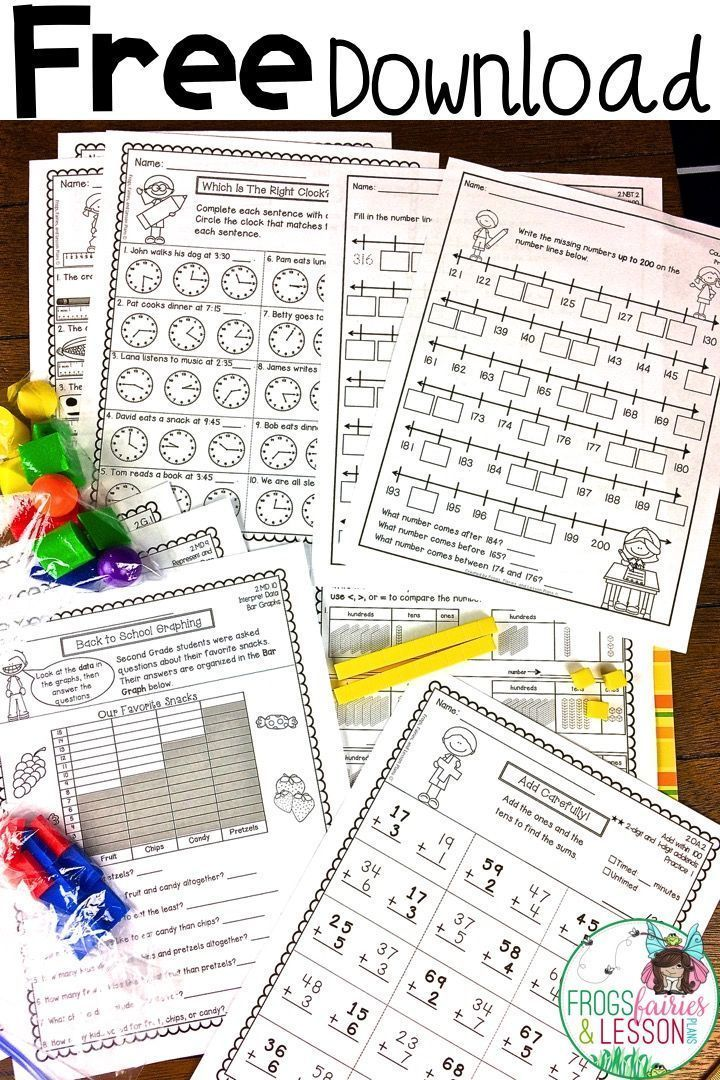 Free Download ! Includes: Count to 1,000, Add to 100, Subtract from 100, Place Value, Shapes, Fractions, Graphing, Telling Time, and Measurement! #mathpractice