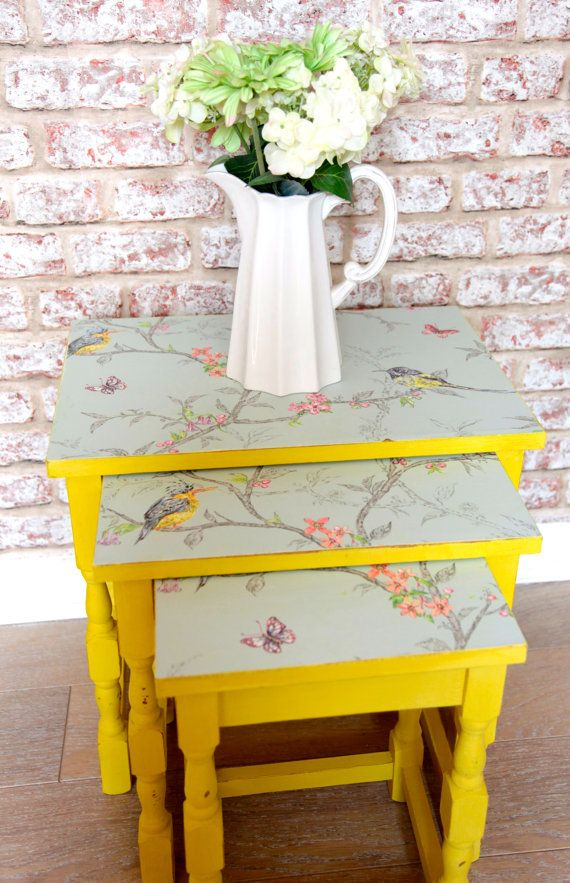 Nest of Tables Shabby Chic Upcycled with Bright Annie Sloan Yellow with Pastel Blue Bird and Floral Paper Ideal Spring Side Table UK