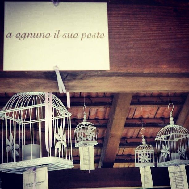 A ognuno il suo posto - Sitting cards under the cages #wedding #Italy #sittingcards