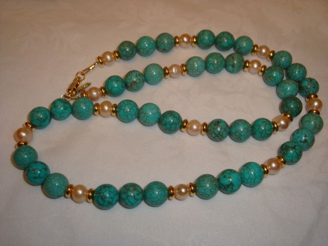 NEW - 23 INCH TURQUOISE AND FRESHWATER PEARL NECKLACE  NATURAL TURQOUISE AND FRESHWATER PEARL  NECKLACE FROM GEMROCKAUCTIONS.COM