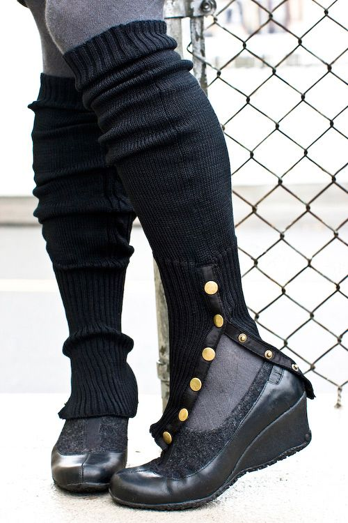 Leg Warmers with Brass Snaps