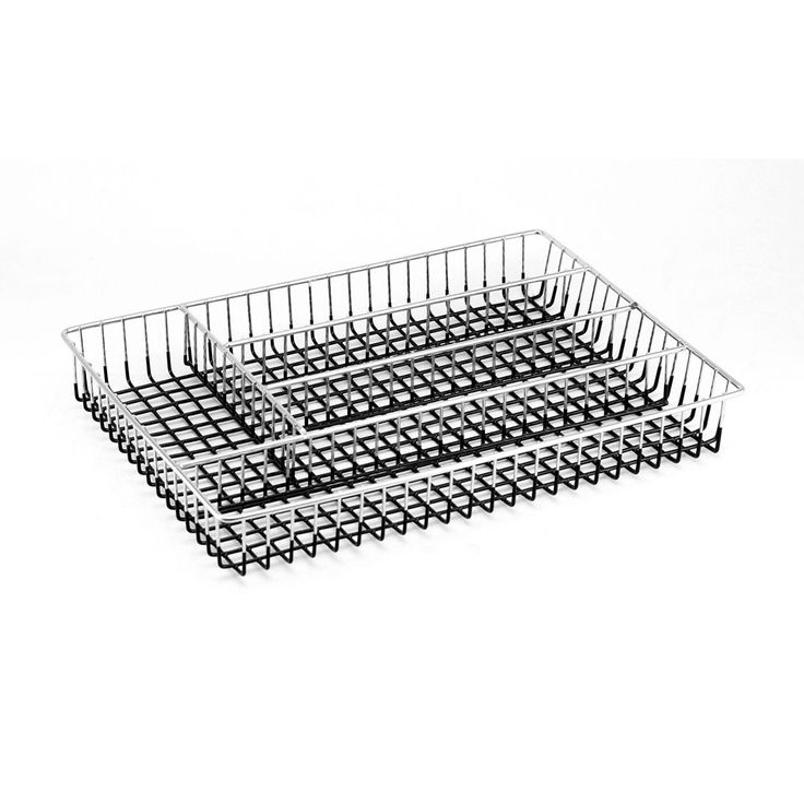Enterprises Chrome Metal Wire Flatware/ Cutlery Tray (Black)