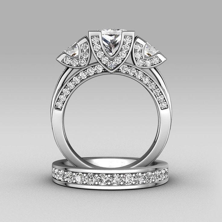Choucong Principessa cut Tre-pietra 8ct Pietra 5A Zircon pietra argento Sterling 925 Donne di Fidanzamento Wedding Band set di Anelli