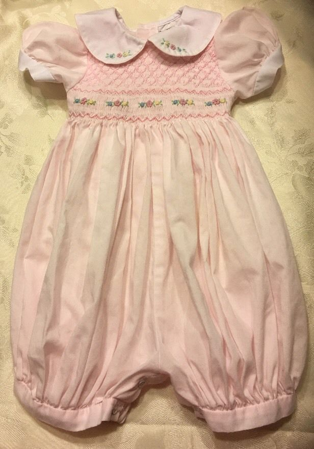 15 best easter childrens clothing toys gifts images on 12 m baby girl carriage boutique friedknit creations pink smocked outfit romper ebay negle Image collections